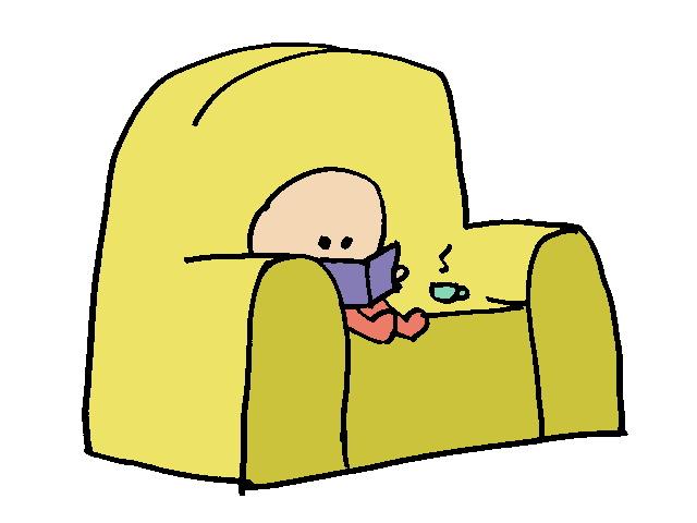 nene en sofá - club de lectura - niño leyendo libro