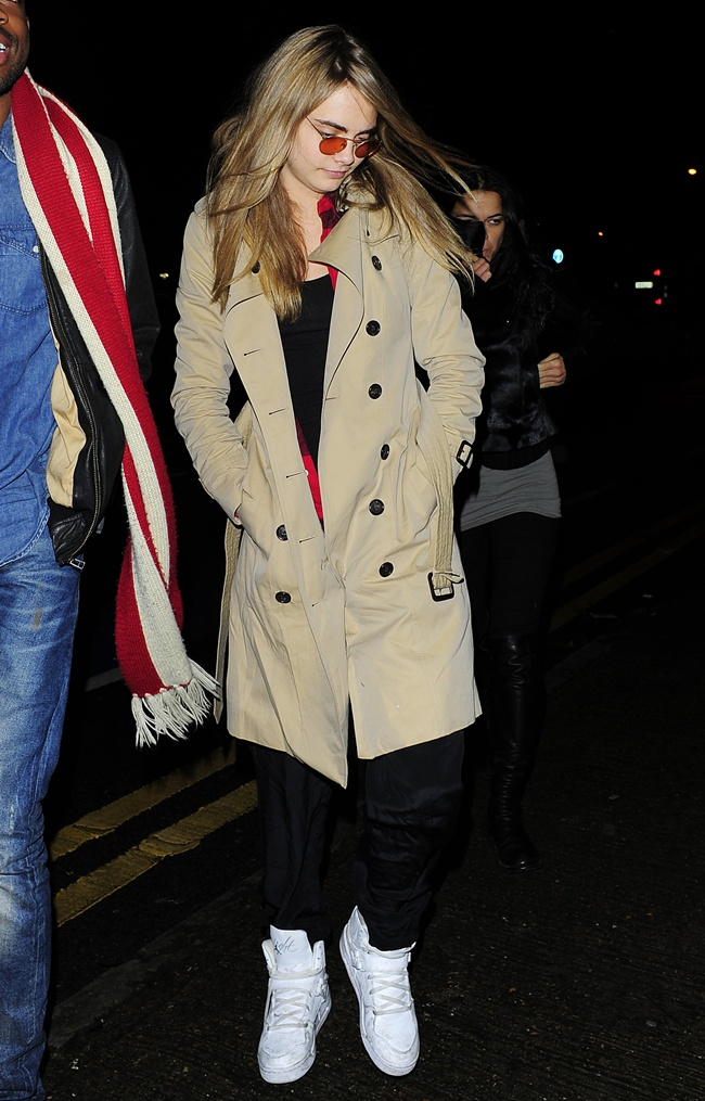 EXCLUSIVE: Cara Delevingne and Michelle Rodriguez enjoy a night out together on January 27, 2014