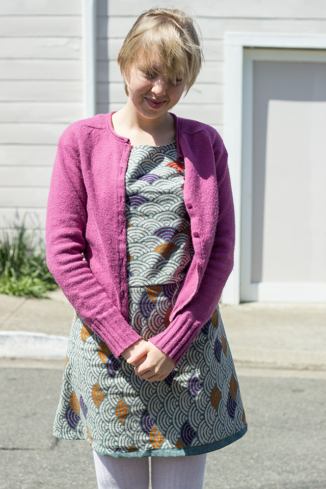 fuchsia cardigan, Japanese fabric handmade dress, white tights