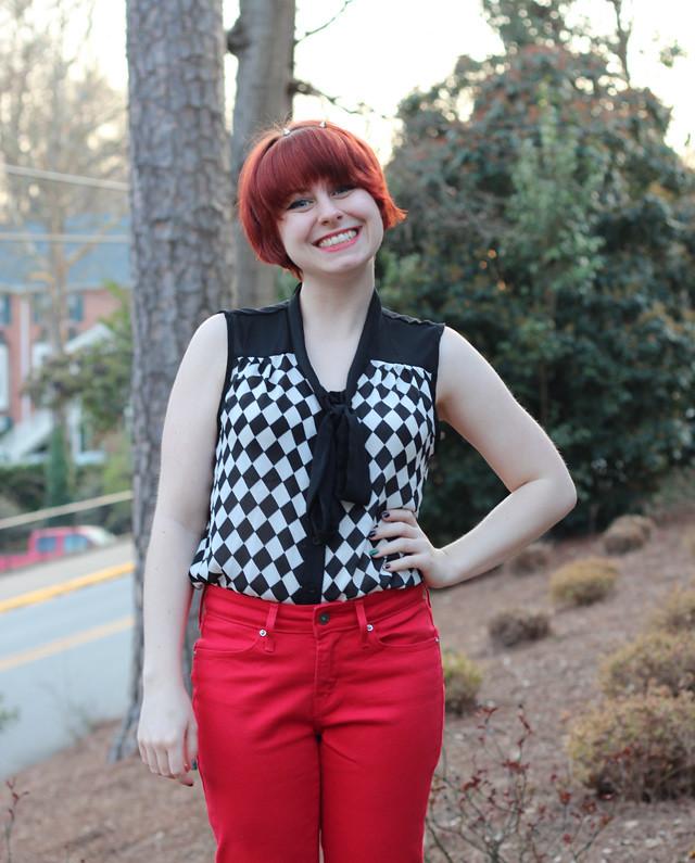 Red Jeans, Sleeveless Checkerboard Shirt, Peeptoe Heels