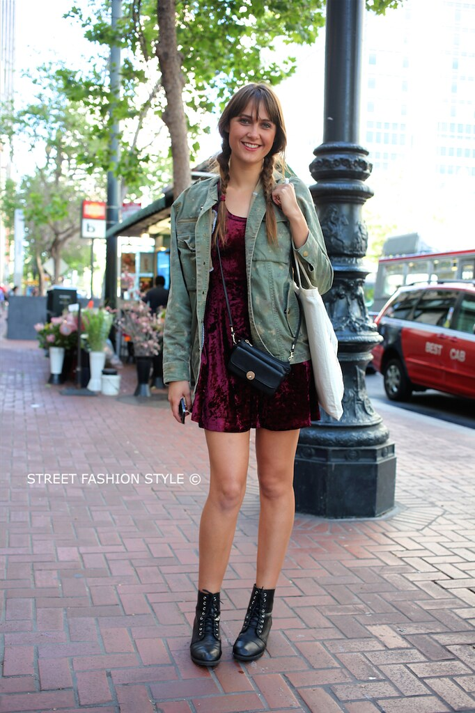STREETFASHIONSTYLE, street fashion style, san francisco streetstyle fashion blog, velvet dress, denim jacket,