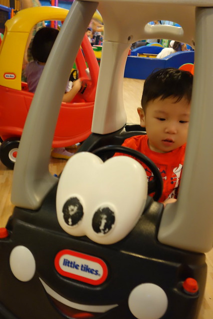 Jerome in another little tikes vehicle!