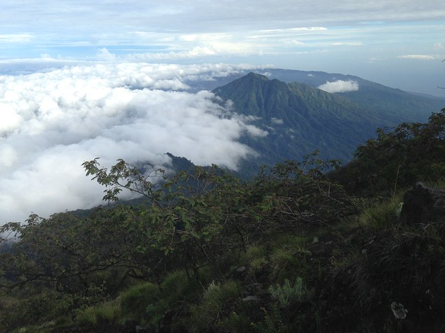 Mount Batur seen from the slope of Mount Agung, Bali, Indonesia