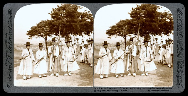 MUCH ENVIED WINNERS OF A KOREAN ARCHERY CONTEST in 1903 -- Full 3-D