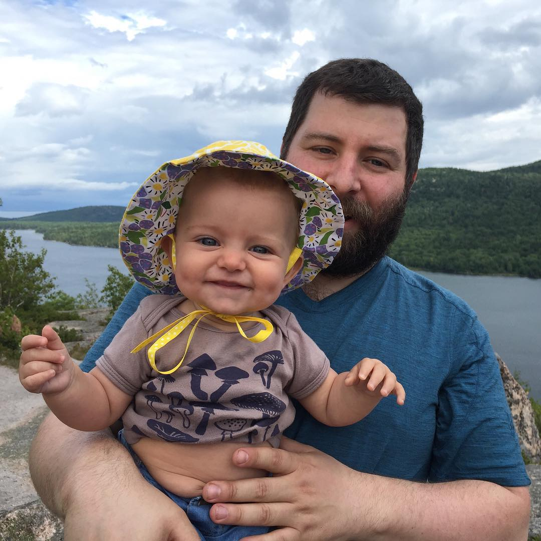 Summit baby! Featuring the #morrisandessex #mushroom #baby t-shirt. #hattiegram #acadia #mainesummer #hiking