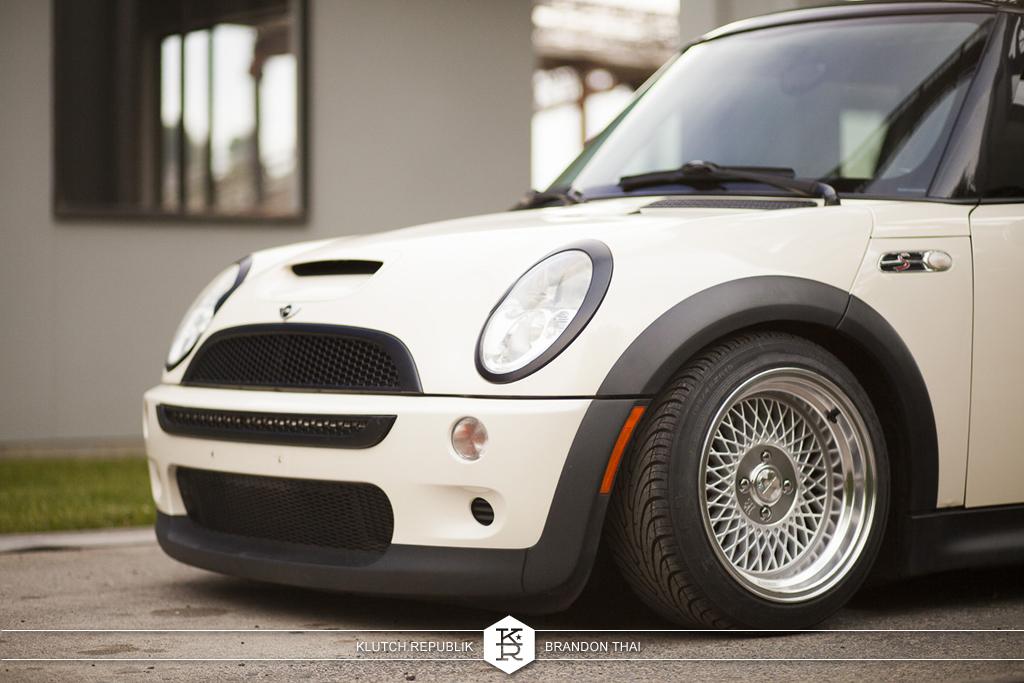 klutch wheels sl1 silver on cream mini cooper stanced