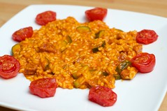Tomato, courgette, and chorizo risotto with roaste…
