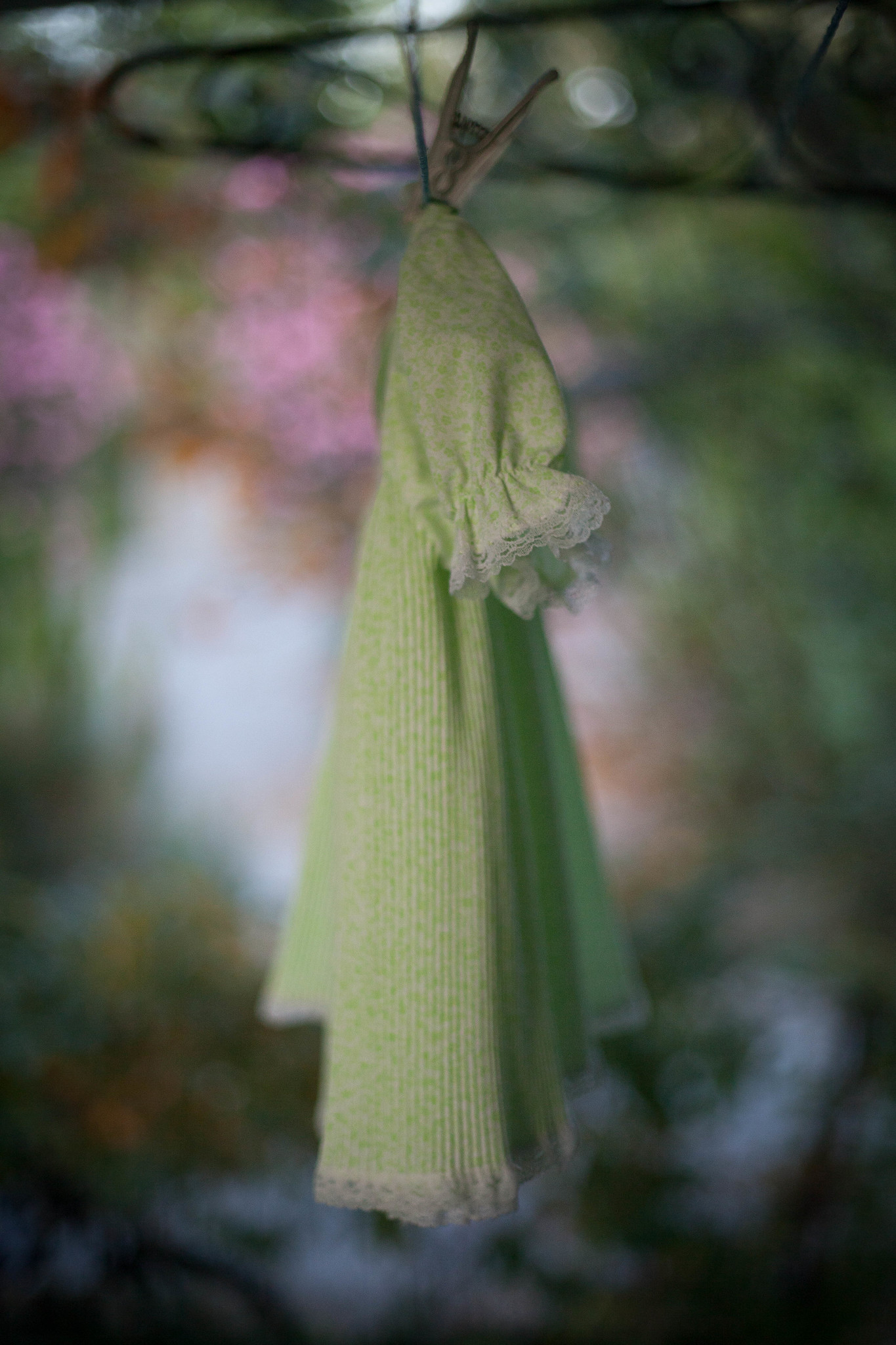 Green dress drying.