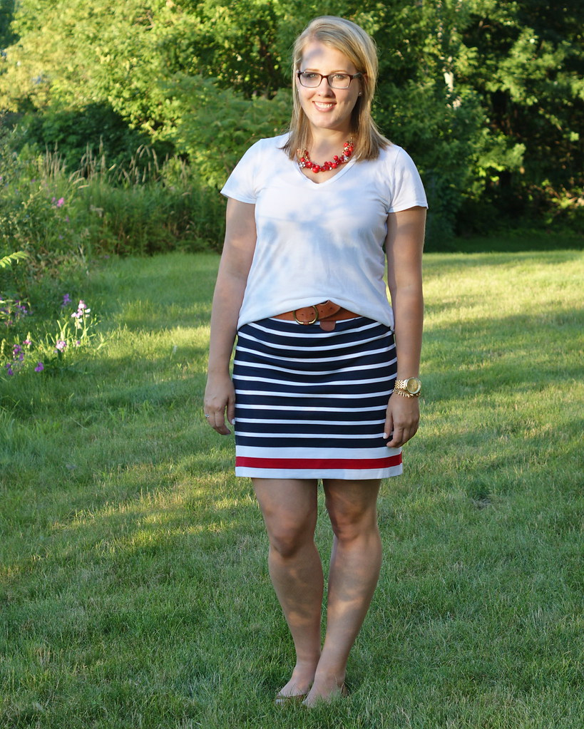 banana republic striped ponte skirt, gap round belt, everlane white tee, banana republic ashley flats, apple of my eye jewelry