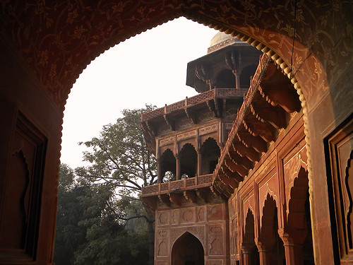 the red sandstone mosque next to the Taj Mahal in Agra