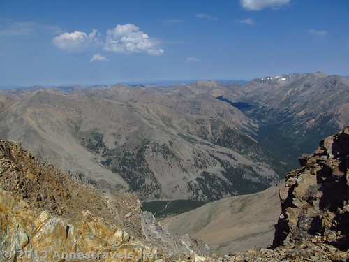View from the saddle just below the peak of Mount Elbert, San Isabel National Forest, Colorado