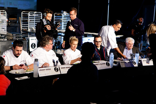 Pastry Competition judging panel: Chefs Johnny Iuzzini, David Burke, Elizabeth Faulkner, Francisco Migoya, Jeffrey Steingarten