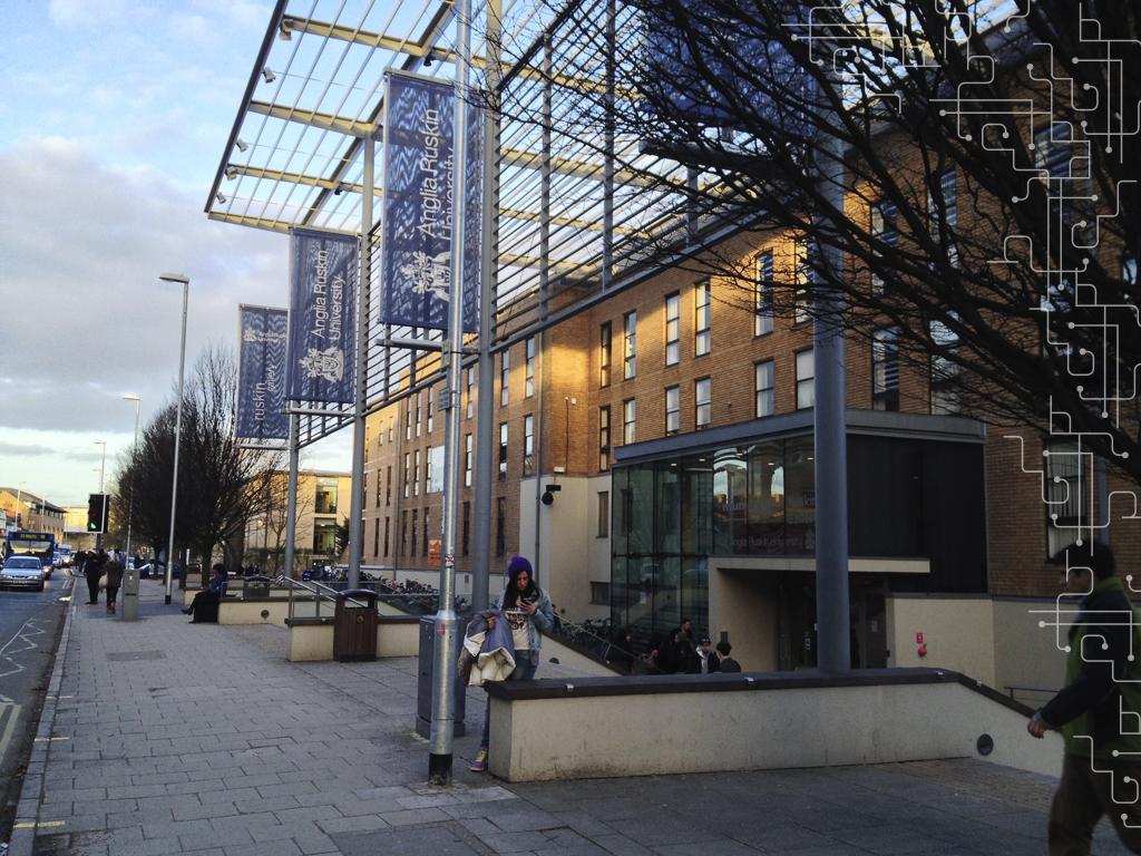 A entrada principal da universidade.