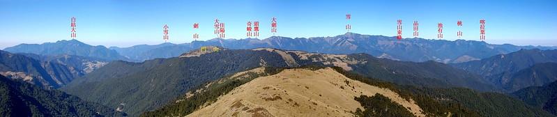鈴鳴山頂展望寬景圖(西至北) 1