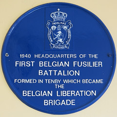 Photo of First Belgian Fusiliers Battalion blue plaque