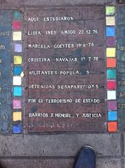 Photo of Lidia Inés Amigo, Marcela Goeytes, and Cristina Navajas multicoloured plaque
