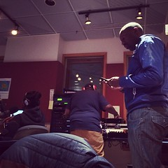 @tokiwright, @itsdjsnuggles, & Reggie Henderson (@soultools) at KFAI doing the weekly #SoulTools Radio show.