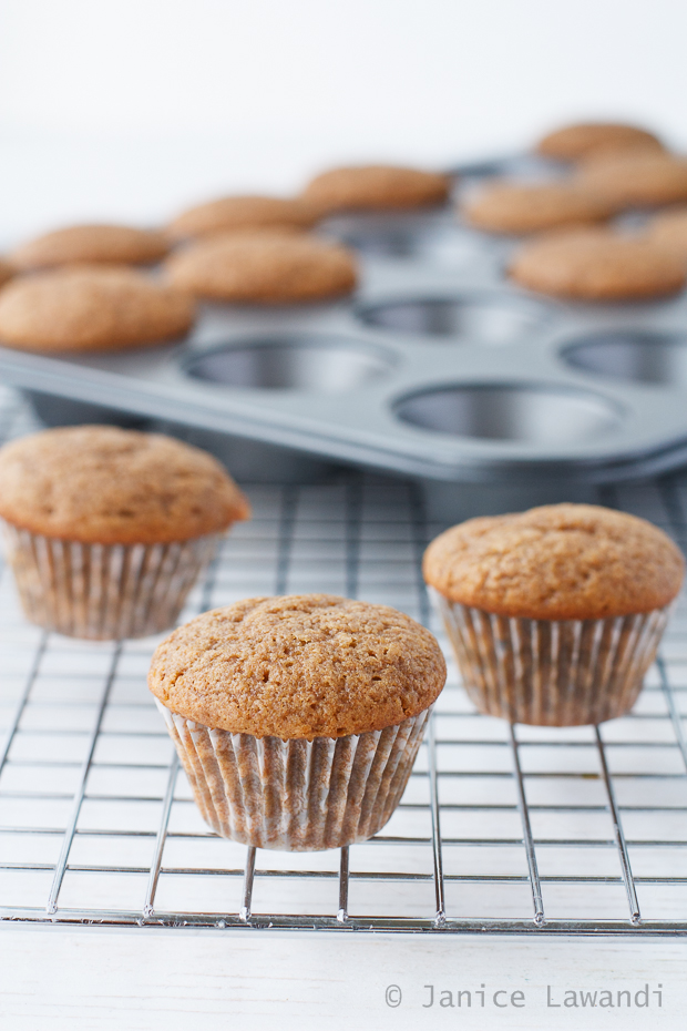 apple spice cupcakes freshly baked in a mini muffin pan