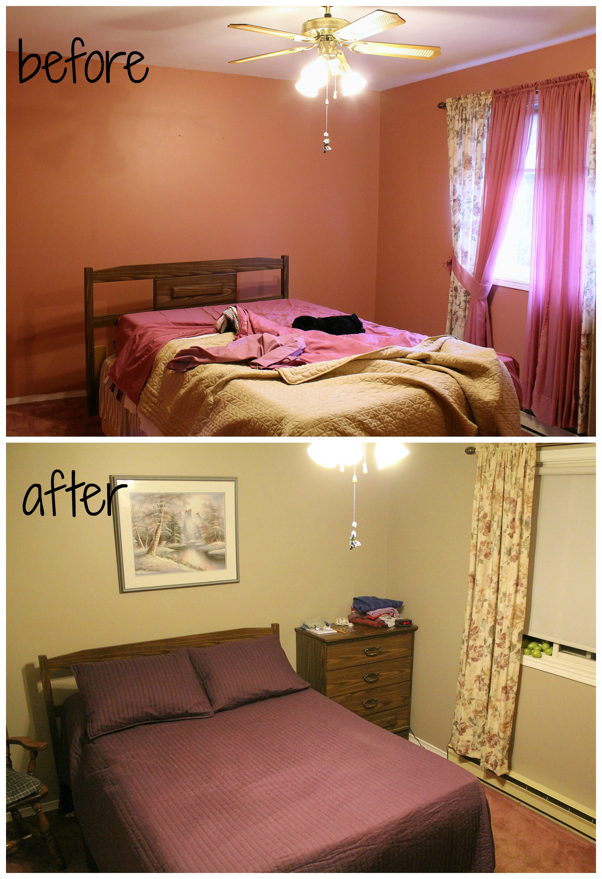 dusty pink bedroom before and after