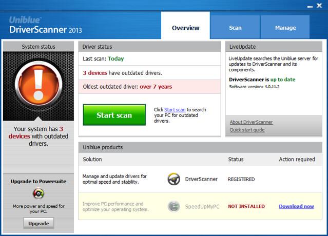 Uniblue DriverScanner 2013 v4.0.11.2 序列号