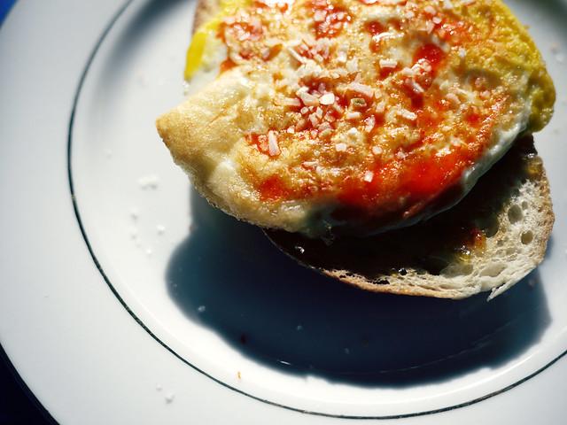 Fried egg on sourdough bread
