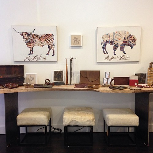 Dolan Geiman's Longhorn & Bison Box Prints Installed in the Stash Co Houston Pop-Up Shop