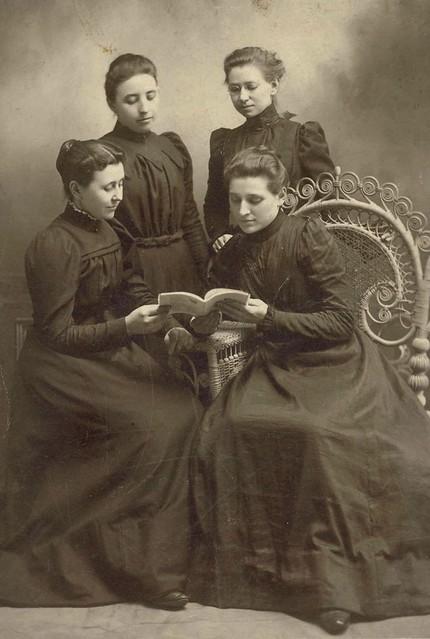 Four Elkhart Institute Ladies with Book, undated