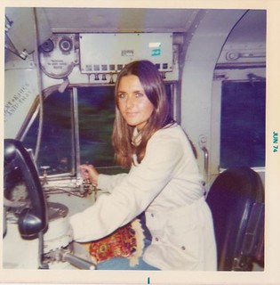 "Me ""driving"" the Amtrak-BN train to Spokane 1974"