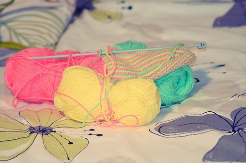 Colourful knitting by PhotoPuddle