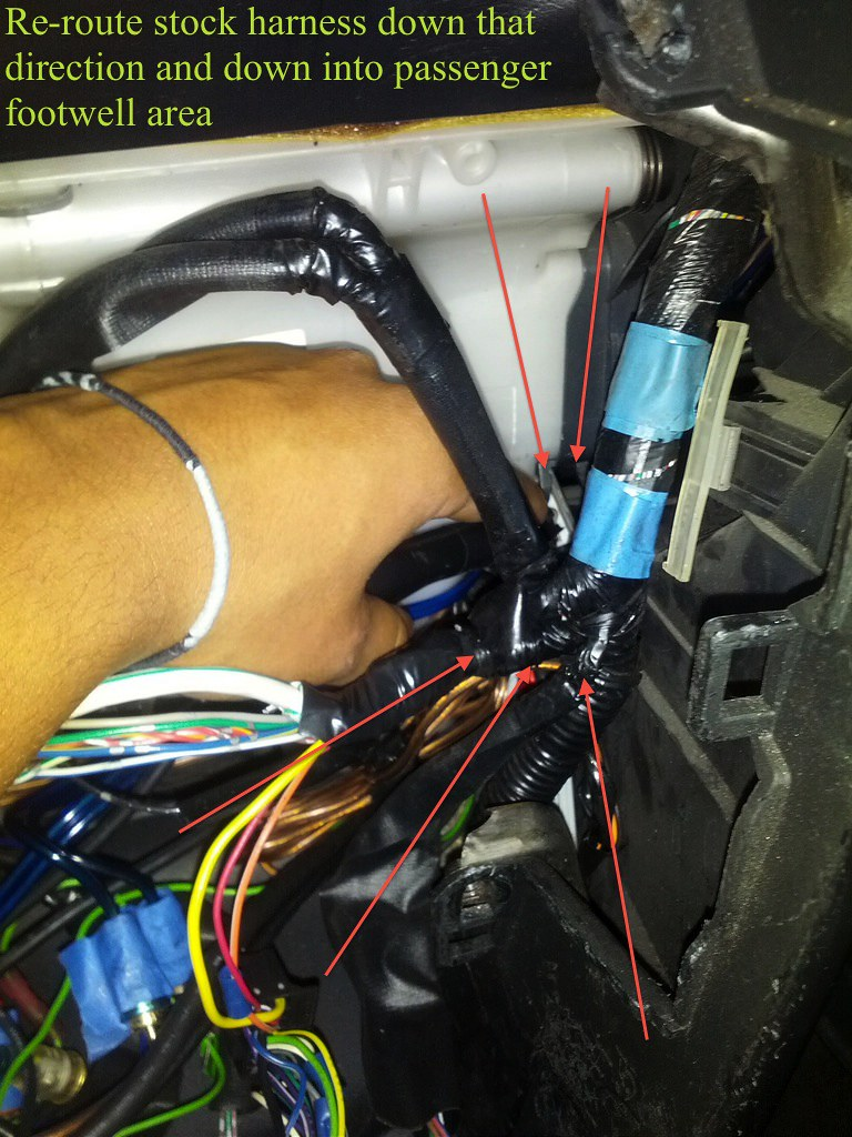 Diy Retain Oem Nav Aftermarket Hu Pics Lexus Is Forum Is250 Navigation Wiring Diagram 8 At This Point Re Route The Pigtail Of Stock Harness Down Right Side And Bring It Into Passenger Foot Area