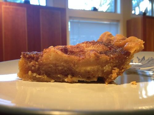 Test piece of sea salt caramel apple custard pie