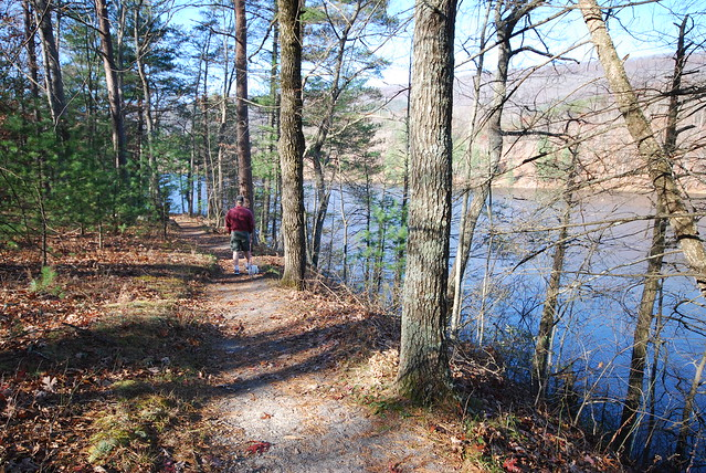 Walking the trails around the lake is great for families and pets alike!