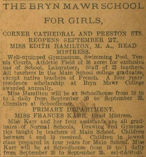 The Bryan Mawr School add BALTIMORE SUN PAPER 10-20-1906