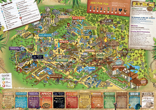Chessington World of Adventures Map 2014 inc new Scorpion Express, Amazu & Azteca Hotel - Theme Park Map Illustration by Rod Hunt