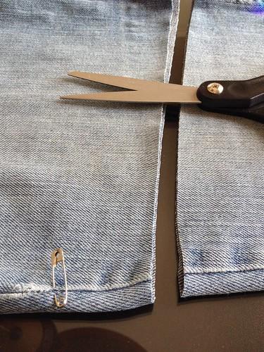 Denim Cut-off Skirt - In Progress