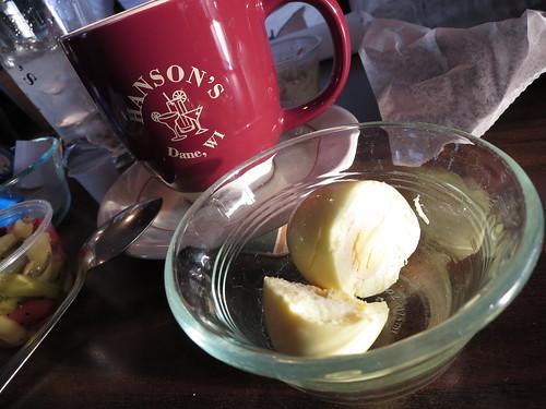Hanson's coffee mug and jalapeno pickled egg