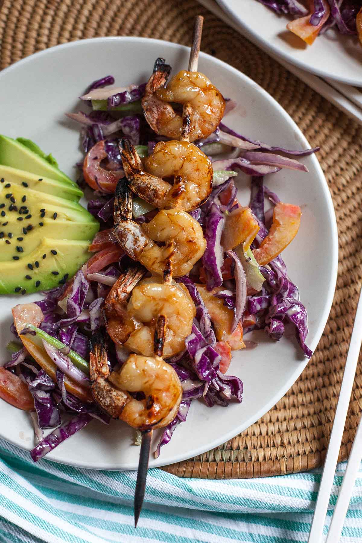 Grilled Shrimp Skewers with Creamy Sesame Slaw   acalculatedwhisk.com #30MinuteMondays