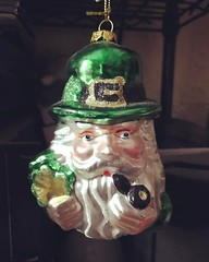 #Irish #treasured #familyheirloom #green #Leprechaun #glassornament given as a #ChristmasPresent from Celine Ryan and Tom Ryan told them I leave it up till #StPatricksDay and they said he is from #GreenpointBrooklyn and to leave him out till the #Polish #