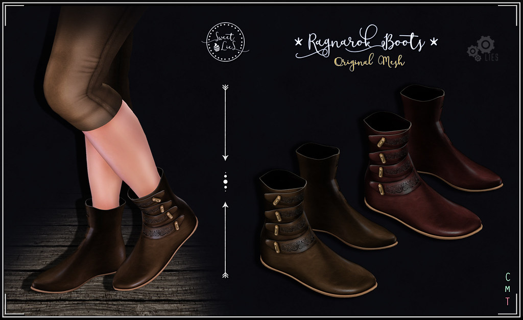Ragnarok Boots Brown - Red - Sweet Lies Original - SecondLifeHub.com