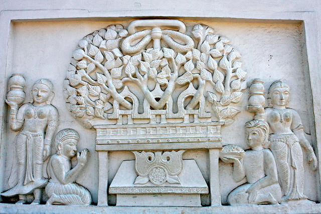 Sculpture, wall panel, Dhaulagiri, Bhubaneswar, Odisha, Bodhi Tree