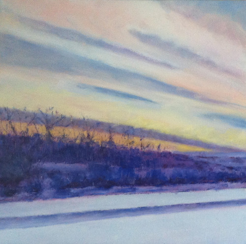 Winter's Drive at Sunset (Oil Bar Painting) by randubnick