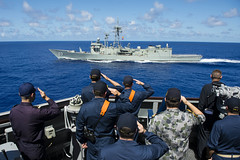Sailors from the U.S. Navy, Royal Australian Navy (RAN)and Japan Maritime Self-Defense Force salute as HMAS Sydney (FFG 03) passes alongside USS Preble (DDG 88) following a maneuvering exercise, June 20. (U.S. Navy photo by Mass Communication Specialist 3rd Class Paul Kelly)