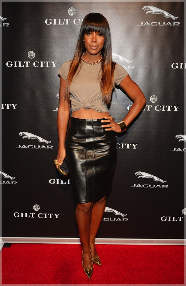 Kelly-Rowland-and-Michelle-Williams-and-Gilt-City-Event-alexander-mcqueen-knuck-clutch-leather-pencil-skirt-gold-cuff
