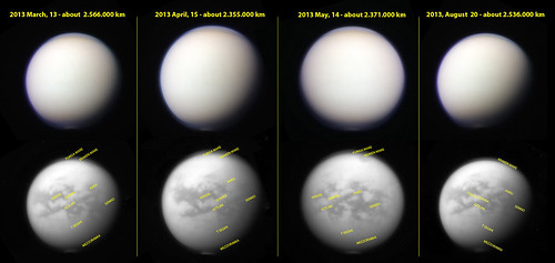 Titan South Polar Vortex Evolution 2013 - above RGB filters; bottom CB3 stacks annotated (shots have been chosen in the range of similar distances)