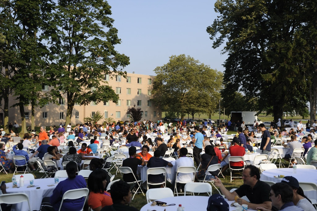 After working up an appetite, students were feted at UB's time-honored New Student Barbeque.