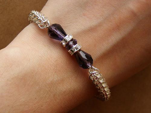 Bracelet - full Persian weave. Crystal butterfly.