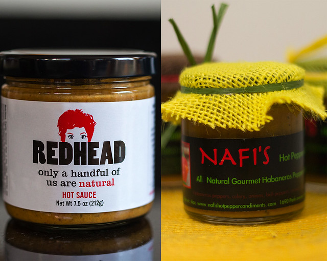 Redhead Hot Sauce (left); photo by Stephen Murello. Nafi's Hot Pepper Condiments (right); photo by Tracey Young.