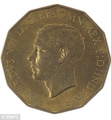1937 Edward VII three pence obverse