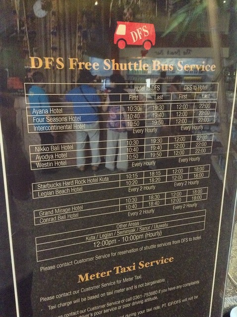 DFS Galleria Bali Free Shuttle Bus Service