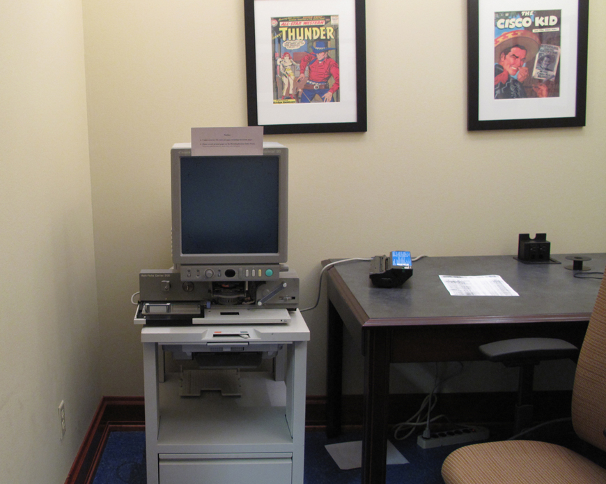 Microfilm room, The Texas Collection